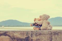二个玩具熊拥抱 例证百合红色样式葡萄酒 免版税库存图片