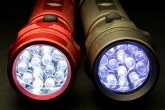 二个现代LED手电 库存照片