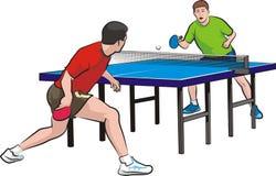 二个球员作用乒乓球 免版税库存照片
