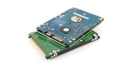 二个硬盘驱动器(HDD)笔记本的 免版税库存照片