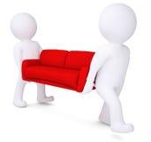 二个空白3d人熊红色沙发 免版税库存图片