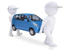 二个空白3d人熊一辆蓝色汽车 库存照片