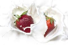 草莓滴下了入奶油。 免版税库存图片