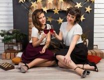 二个美丽的女朋友 免版税图库摄影