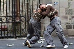 二个舞蹈演员战斗 库存照片