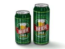 二个通用啤酒罐 库存例证