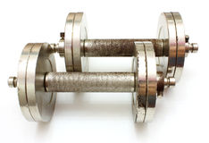 二个金属哑铃 库存照片