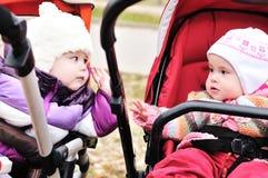 二个婴儿推车朋友 免版税库存照片