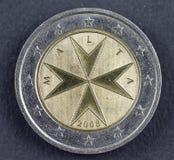 二从马耳他共和国的欧元硬币 免版税库存照片