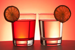 二份红色饮料 免版税库存照片