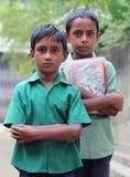 二位孟加拉国的男小学生 免版税库存照片