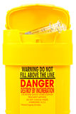 二使用的容器注射器 免版税库存图片