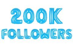 二十万个追随者,蓝色颜色 免版税库存照片