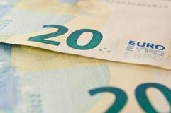 二十欧元新的钞票  库存照片