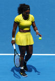 二十行动的一个次全垒打冠军小威廉姆斯在她的在澳网的四分之一决赛比赛期间2016年 库存图片