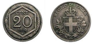 二十20分里拉银币1919年Exagon冠开胃菜盾意大利的维托里奥Emanuele III王国 免版税库存图片
