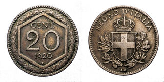 二十20分里拉银币1920年Exagon冠开胃菜盾意大利的维托里奥Emanuele III王国 免版税库存图片
