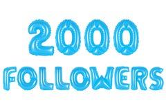 二千个追随者,蓝色颜色 图库摄影