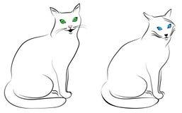 二只滑稽的猫 免版税图库摄影