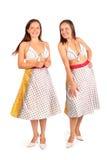 二名同样妇女在比基尼泳装和裙子微笑穿戴了 库存照片