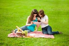 二名妇女在一顿野餐的公园与片剂个人计算机 库存照片