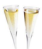 二块香槟玻璃,关闭 免版税图库摄影