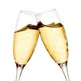 二块香槟玻璃 免版税库存照片