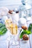二块香槟玻璃 库存图片