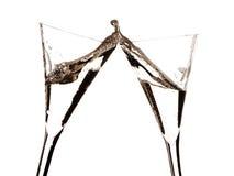 二块玻璃香槟敬酒 库存照片