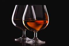 二块玻璃用白兰地酒 库存照片