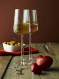 二块玻璃白葡萄酒 免版税库存图片