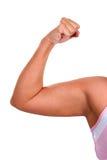 二头肌胖的妇女 免版税库存图片