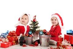 二愉快的圣诞老人辅助工 免版税图库摄影
