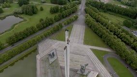 二战对苏联军队的胜利纪念碑在里加,拉脱维亚 股票录像