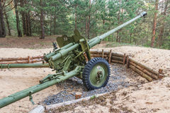 从二战的火炮枪在白俄罗斯 免版税库存图片