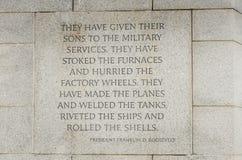 二战纪念品-华盛顿特区 库存照片