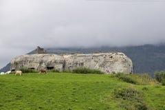 从二战,一部分的阿尔卑斯墙壁,亚尔他Val Venosta/Obervinschgau,南提洛尔,意大利的地堡 库存图片