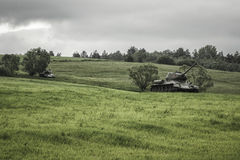 从二战,斯洛伐克的俄国坦克T-34 免版税库存图片