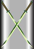 二把绿宝石克服的剑 库存照片