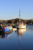 二条小船在运河水池, Glasson码头停泊了 免版税库存照片