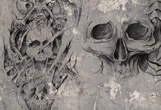 二条龙,在灰色墙壁的纹身花刺例证 皇族释放例证