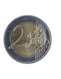 二欧元硬币 免版税库存照片