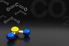 二氧化碳或二氧化碳分子背景, 3D翻译 免版税库存照片