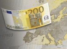 二百欧元在温暖的口气的票据拼贴画 库存图片