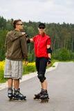 二的直排轮式溜冰鞋 免版税图库摄影