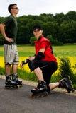 二的直排轮式溜冰鞋 免版税库存照片