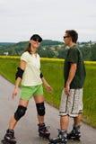 二的直排轮式溜冰鞋 图库摄影