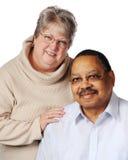 二种人种的夫妇前辈 库存照片