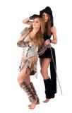 二蛮子和猫服装的女孩 免版税库存图片