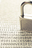 二进制代码列表挂锁 免版税库存图片